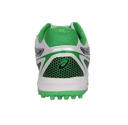 ASICS-Men's Gel Gully-5 White, Black and Green Cricket Shoes - 11 UK