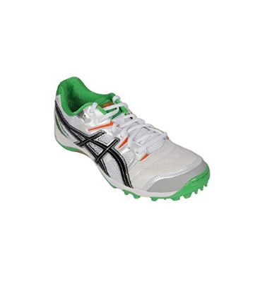 ASICS Men's Gel Gully-5 White, Black and Green Cricket Shoes - 11 UK