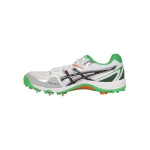 ASICS Men's Gel Gully-5 White, Black and Green Cricket Shoes _ 11 UK