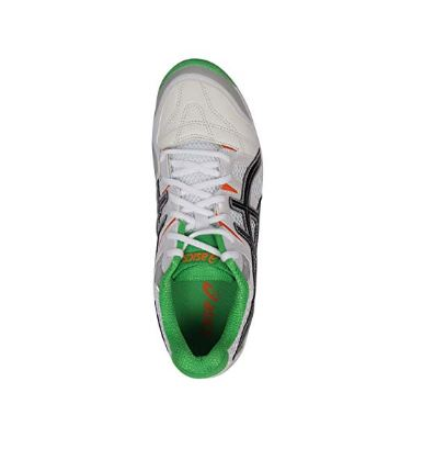 ASICS_Men's Gel Gully-5 White, Black and Green Cricket Shoes - 11 UK