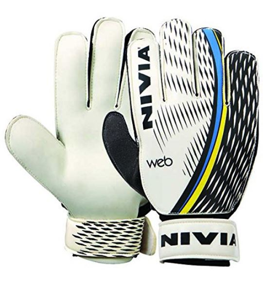 Nivia Web Goalkeeper Gloves, Medium (White)