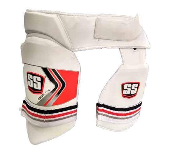SS Aerolite Cricket Batting Combo Thigh Guard Mens Size (White Red, Mens Right Hand)