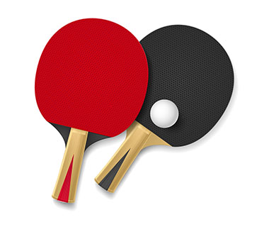 table tennis racket & ball