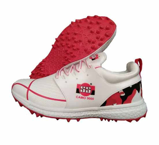 SS Camo 9000 Stud Cricket Shoes White and Red