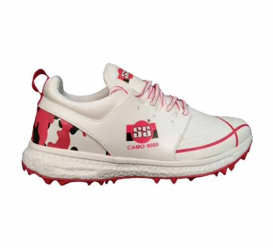 SS Camo 9000 Stud Cricket Shoes White and Red2