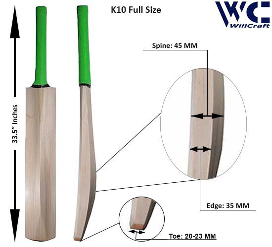WillCraft K10 Full Kashmir Willow Plain Tennis Cricket Bat_New
