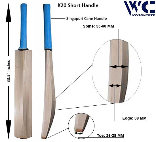 WillCraft K20 SH Kashmir Willow Plain Cricket Bat_New