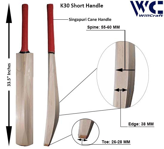 WillCraft K30 Size SH Kashmir Willow Plain Cricket Bat_New