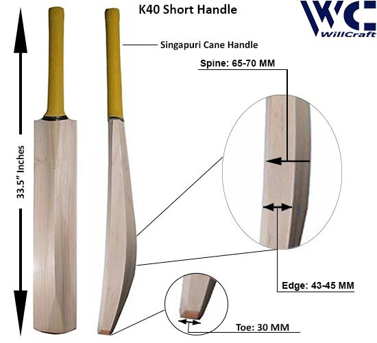 WillCraft K40 SH Kashmir Willow Plain Cricket Bat_New