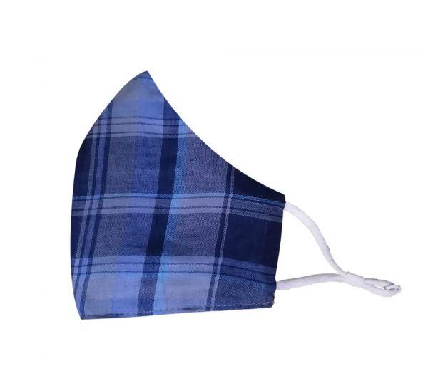 3 Ply Cotton Face Mask_Blue & Dark Blue Checks