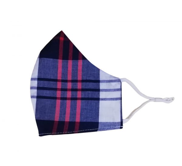 3 Ply Cotton Face Mask_Blue & Red Checks