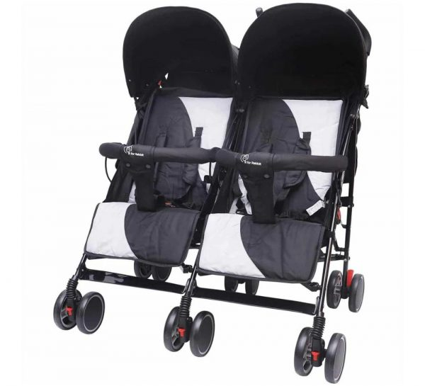 R for Rabbit Ginny & Johnny Twin Stroller_GreyBlack cover