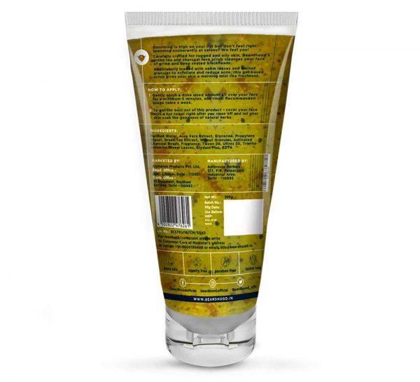 Beardhood Green Tea & Charcoal Gel Face Scrub_1